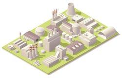 Edificios isométricos de la fábrica Imágenes de archivo libres de regalías