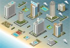 Edificios isométricos de la playa Foto de archivo