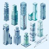 Edificios isométricos del bosquejo coloreados Imagenes de archivo