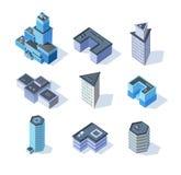 Edificios isométricos del centro de ciudad del negocio del vector libre illustration