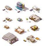 Edificios isométricos del vector fijados stock de ilustración