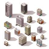 Edificios isométricos del vector fijados