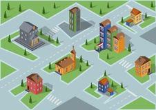 Edificios isométricos del vector o mapa isométrico Imagen de archivo