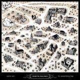 Edificios isométricos para el mapa de junta Fotografía de archivo libre de regalías