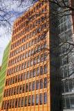 Edificios modernos coloridos con las ramas de árbol en vertical de Londres, Inglaterra imagen de archivo libre de regalías