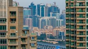 Edificios modernos de cristal de la arquitectura de Oriente Medio del timelapse del distrito del tecom, United Arab Emirates, Dub almacen de video