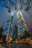 Edificios modernos de los rascacielos de la torre y de Cheung Kong Centre del Banco de China en Hong Kong Paisaje urbano de Hong  Imagenes de archivo
