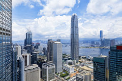 Edificios modernos en distrito de las finanzas de Hong Kong fotos de archivo libres de regalías