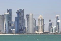Edificios modernos en Doha Foto de archivo libre de regalías