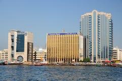 Edificios modernos en Dubai Creek Fotografía de archivo libre de regalías