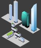 Edificios modernos isométricos Imagenes de archivo