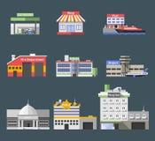 Edificios planos del gobierno fijados stock de ilustración