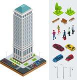 Edificios planos modernos de la ciudad isométrica Districto financiero Sistema de edificio alto del vector stock de ilustración