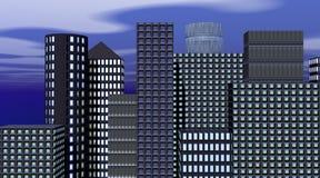 Edificios por la tarde ilustración del vector