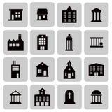 Edificios, propiedades inmobiliarias, iconos de la casa para el web y diseño plano móvil, ejemplo del vector Fotografía de archivo libre de regalías