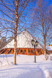 Edificios redondos en la nieve Imagen de archivo libre de regalías