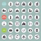 Edificios, señales y sistema del icono del viaje Fotos de archivo