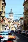Edificios típicos en Cluj-Napoca, Transilvania Foto de archivo libre de regalías