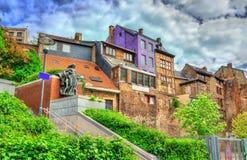 Edificios típicos en el centro de ciudad de Lieja, Bélgica foto de archivo libre de regalías