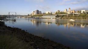Edificios Tacoma del norte WA de Thea Foss Waterway Waterfront River foto de archivo