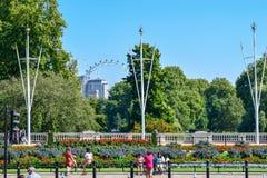 Edificios tradicionales y palacio de Westminster en Londres en Sunny Summer Day fotos de archivo libres de regalías