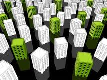Edificios verdes y blancos Imágenes de archivo libres de regalías
