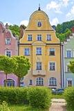 Edificios viejos de Coloful en Landshut, Alemania Fotografía de archivo