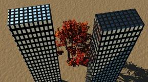 Edificios y árbol libre illustration