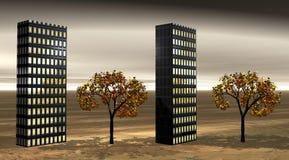 Edificios y árboles stock de ilustración
