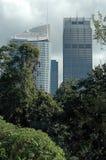 Edificios y árboles Fotografía de archivo libre de regalías