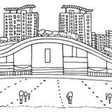 Edificios y agua futuristas Paisaje moderno urbano Ejemplo gráfico dibujado mano del vector Fotos de archivo libres de regalías