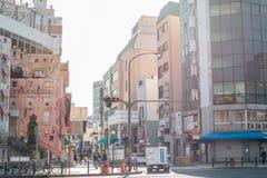 Edificios y calle coloridos de Mediterrasse en Kobe, Japón fotos de archivo