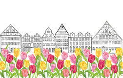 Edificios y casas viejos en Amsterdam con el callejón de los tulipanes de la flor Foto de archivo libre de regalías