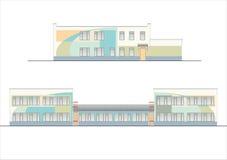 Edificios y estructuras del temprano y de los mediados del siglo XX Dibujos de casas de la arquitectura clásica del final de 18-1 Imagen de archivo libre de regalías