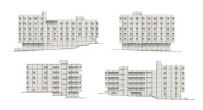 Edificios y estructuras del temprano y de los mediados del siglo XX Dibujos de casas de la arquitectura clásica del final de 18-1 Foto de archivo