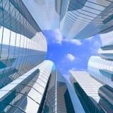 Edificios y nubes de cristal a gran altitud ilustración del vector
