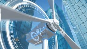 Edificios y rotación del molino de viento