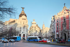 Edifisio Metropolis building on Gran Via street in Madrid Stock Photography