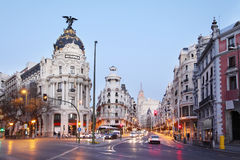Edifisio Metropolis building on Gran Via street Royalty Free Stock Photo