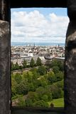 Edimburgh Castle, view from a slit Stock Photography