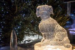 Edimburgo Escócia - quinta-feira 30 novembro de 2017 - esculturas de gelo em George Street - uma viagem através de Escócia congel Imagens de Stock Royalty Free
