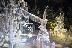 Edimburgo Escócia - quinta-feira 30 novembro de 2017 - esculturas de gelo em George Street - uma viagem através de Escócia congel Fotos de Stock