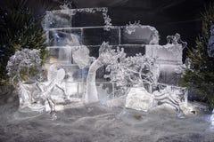 Edimburgo Escócia - quinta-feira 30 novembro de 2017 - esculturas de gelo em George Street - uma viagem através de Escócia congel Fotografia de Stock