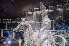 Edimburgo Escócia - quinta-feira 30 novembro de 2017 - esculturas de gelo em George Street - uma viagem através de Escócia congel Imagem de Stock Royalty Free