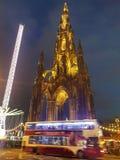 Edinburgh night scotish monuments tourist stock images