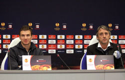 Edin Dzeko and Roberto Mancini of Manchester City Royalty Free Stock Photo