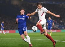 Edin Dzeko scores past Andreas Christensen Stock Images