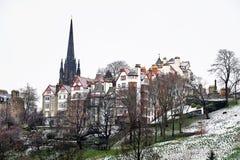 Edinburg, sikt av staden, flera monument och slotten, Arkivfoton