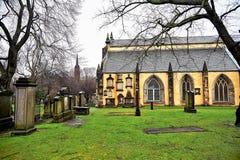 Edinburg, sikt av staden, flera monument och slotten, Arkivbilder