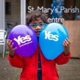 """EDINBURG SKOTTLAND, UK †""""September 18, 2014 - självständighetfolkomröstningdag Arkivfoto"""